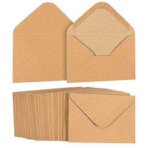 Juvale A1 Envelopes Bulk - 100-Count A1 Invitation Envelopes, Kraft Paper Envelopes for 5 x 3 Inch Wedding, Baby Shower, Party RSVP Invitations, V-Flap Photo Envelopes, Brown, 3 5/8 x - 5/8 Drive Direct 5 Inch