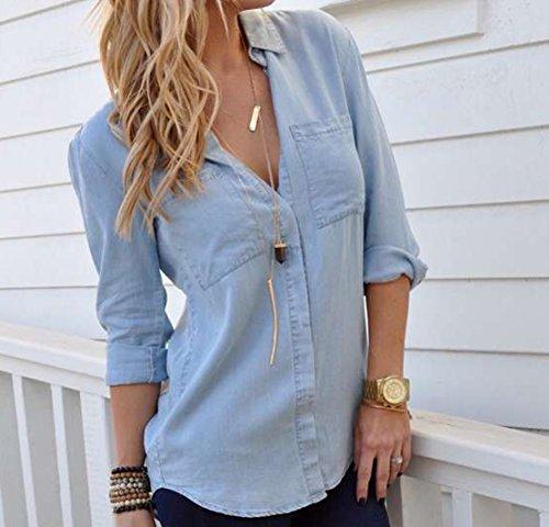 Blusa di jeans Camicetta Blu Denim Manica lunga Donna Camicia a Maniche Lunghe Blusa Camicetta Top Bluse