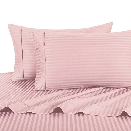 Ultra Soft & Exquisitely Smooth Genuine 100% Plush Cotton 800 TC Sheet Set by Pure Linens, Lavish Sateen Stripes, 4 Piece Queen Size Deep Pocket Sheet Set, Blush (Linen Pure)