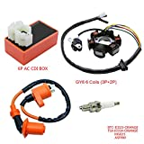 FLYPIG Magneto Stator + Racing Ignition Coil + 6 Pins AC CDI Box + A7TC 4 Stroke Spark Plug for Chinese GY6 49cc 50cc Engine Moped Scooter