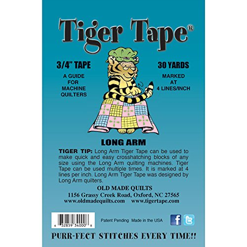 Tiger Tape Long Arm - 3/4'' (.75 inch) guide, marked 4 lines per inch - 30 yard roll by Tiger Tape