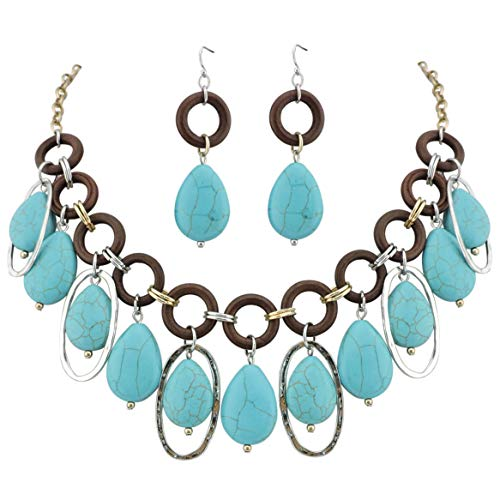 (COIRIS Statement Teardrop Turquoise Beads Collar Bib Necklace for Women with Earrings (N0039))