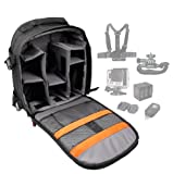 Water-Resistant Nylon Rucksack with Customizable Interior & Storage Space Compatible All GoPro Devices Including HD Hero 1, 2, 3, 3+, 4, 4 Session, 5 Black, 5 Session/Session Surf - by DURAGADGET