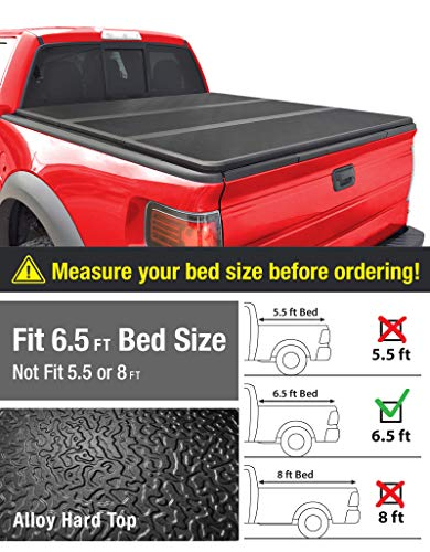 MaxMate TCF591020 Alloy Tri-Fold Hard Top Truck Bed Tonneau Cover for 2009-2014 Ford F-150 (Excl. Raptor Series) | Styleside 6.5' Bed | for Models Without Utility Track System
