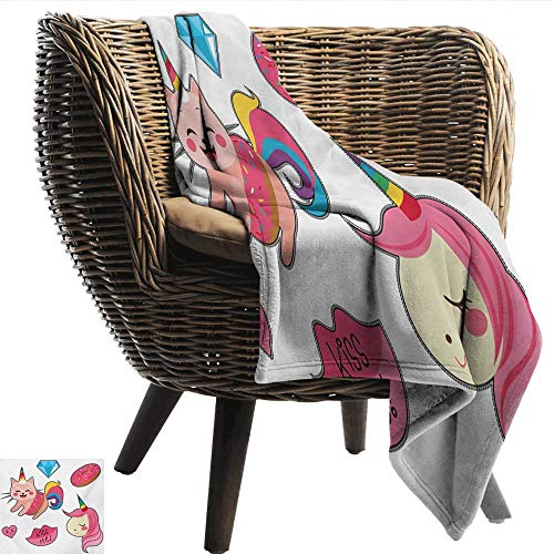 (Davishouse Unicorn Cat Super Soft Blankets Cute Fantastic Icons for Girls Magical Characters Mythological Mascots Ultra Soft and Warm Hypoallergenic 70