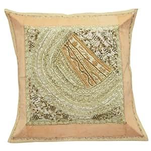 "Cojín decorativo India Beige Sofa Funda de almohada bordada Cubierta Patchwork Arte Regalos 17 pulgadas """