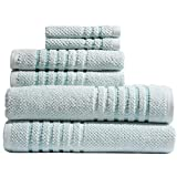 Caro Home Maggie Mint 6 Piece Bath Towel Set - 2 Bath Towels 2 Hand Towels 2 Face Towels - 100% Combed Cotton Premium Quality Solid Color, Thick and Heavy Weight Plush Absorbent 550 GSM