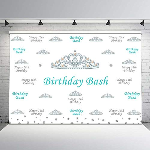 Mehofoto Sweet Sixteen Birthday Backdrop Step Repeat Crown Background Girls 7x5 Customized Vinyl Birthday Bash Photography Backdrops 16th Birthday Party Decorations Supplies