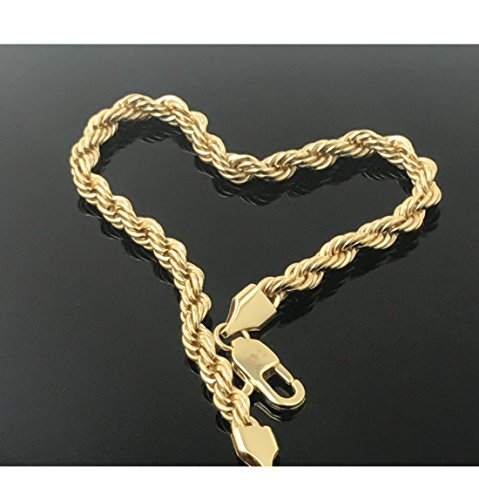 Gold Filled 14kt Diamond Cut Rope Chain Bracelets 5MM With A USA Made! (8) (Electroplate 14kt Gold)