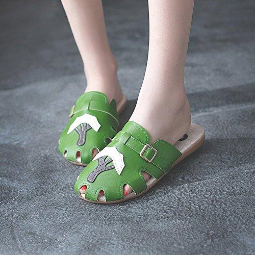 Medias De Green Nuevo Zapatillas Sandalias XING Japonés Femenino 40 GUANG Verano Lindo Femenino Antideslizante Baotou Retro Planas Zapatillas Hueco Green 36 Corcho RwAYqBaq
