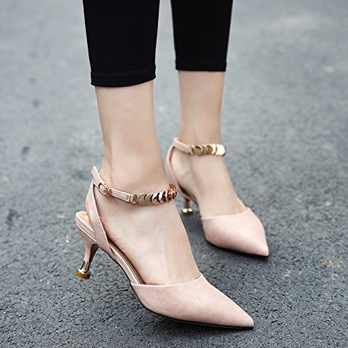 Word Leisure 34 Hollow Single Out 6 Head Fine Shoes Elegant Work Heel Shoe Sharp Shoes Shallow Lady Heels Mouth MDRW Button Cat And 5Cm Women Spring One Pink Metal fqt1U