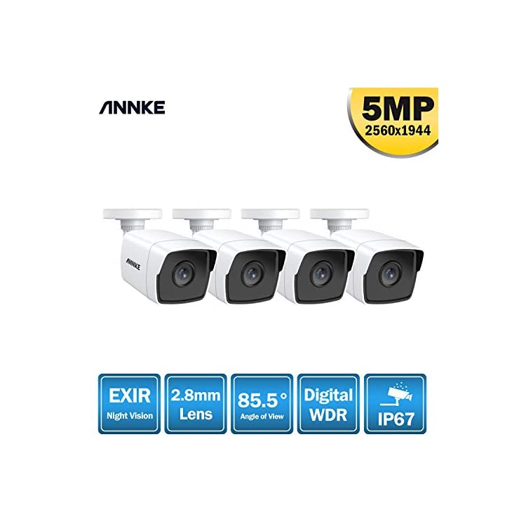 ANNKE 8CH 5MP Home CCTV Camera System, 4X 5MP (2560X1944P) IP67 Waterproof Outdoor Security Bullet Cameras, 100ft EXIR…