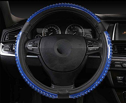 Blue 146 Shape - JYXQC Steering Wheel Cover Leather Three-Dimensional Particles Non-Slip Universal, Diameter 38Cm,Blue