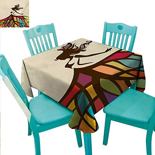 WilliamsDecor Youth Fabric Dust-Proof Table Cover Drawing of a Young Woman Figure with a Puffy Colorful Artistic Skirt Fashion Theme Indoor Outdoor Camping Picnic 70