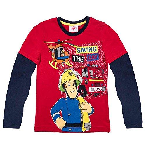 Feuerwehrmann Sam - Jungen Langarm Shirt Im Einsatz Gr. 98 - 128, Größe:116;Farbe:Rot