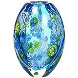 Home Decor Blue Floral Glass Vase