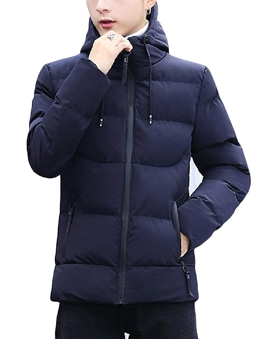 YUNY Mens Plus-Size Hooded Pure Color Thickening Cotton Wool Coat Navy Blue M