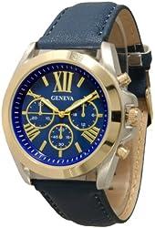 Geneva Women's Leather Roman Numeral Chronograph Watch - Navy/Gold