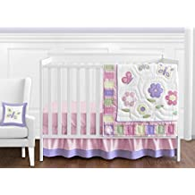 Sweet Jojo Designs 11-Piece Pink and Purple Butterfly Flower Collection Baby Girl Bedding Crib Set Without Bumper