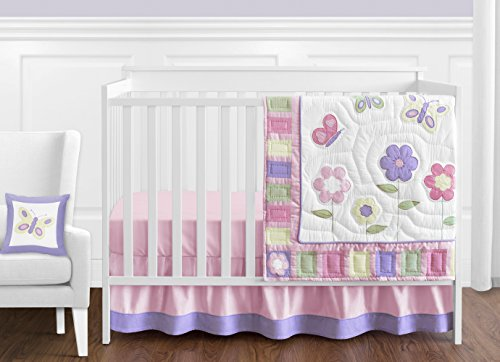 Pink and Purple Butterfly Flower Collection Baby Girl Bedding 11pc Crib Set Without Bumper