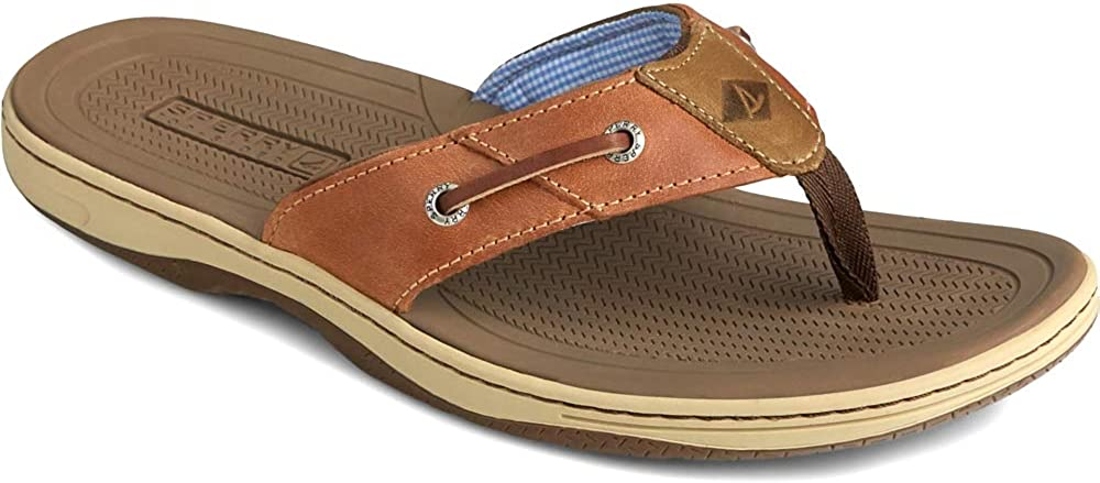 Sperry Mens Baitfish Thong Sandal Dark Tan 13