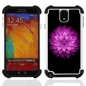 """Pulsar ( Purple Lilac Pétalo floral Flor minimalista"""" ) Samsung Galaxy Note 3 III N9000 N9002 N9005 híbrida Heavy Duty Impact pesado deber de protección a los choques caso Carcasa de parachoques"""