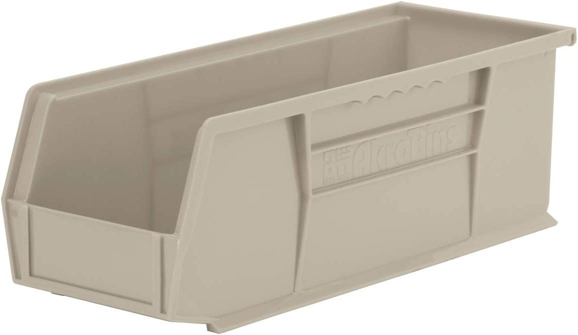 Akro-Mils 30234 AkroBins Plastic Storage Bin Hanging Stacking Containers, (15-Inch x 5-Inch x 5-Inch), Stone, (12-Pack)