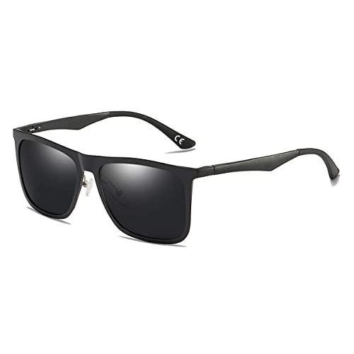 12e0b3bd065 BLEVET Classic Retro Square Driving Polarized Sunglasses Men Aluminum  Magnesium Metal Legs Sun Glasses (Black