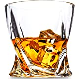 KANARS Rocks Glasses - Set of 4 - Twist Old Fashioned Whiskey Glasses - Premium 10 oz Crystal Tasting Tumblers for Scotch or Bourbon - Blue Gift Box for Men or Women