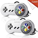 2 Pack Retro SNES Classic USB Controller Gamepad,kiwitatá USB Colorful PC Game Controller Joysticks for Windows PC MAC Super Nintendo Games