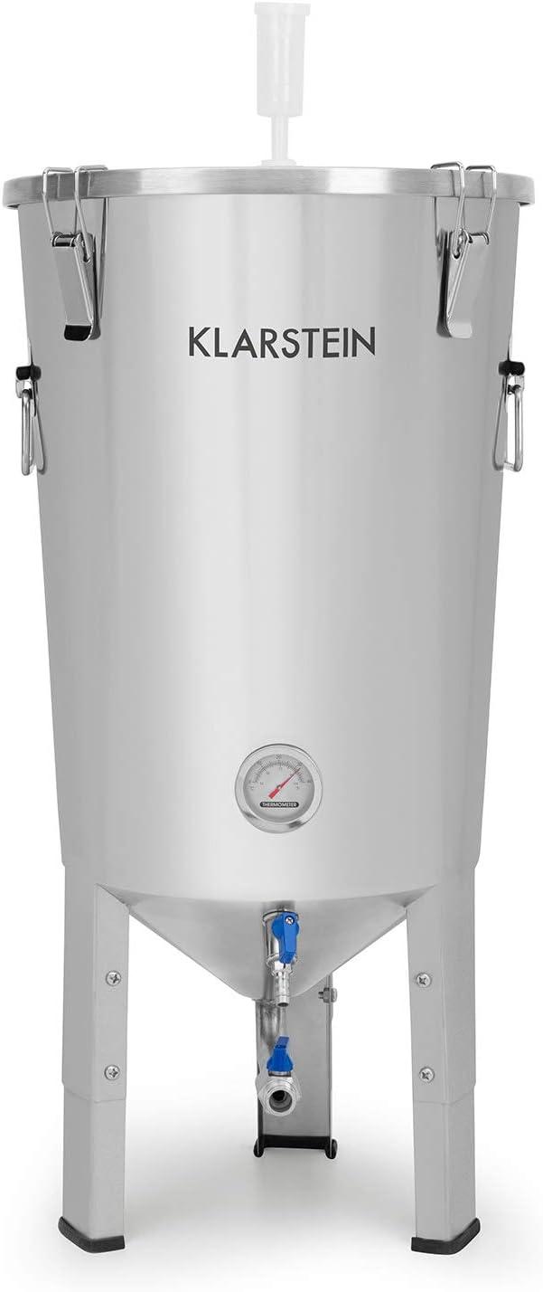Klarstein Gaerkeller Pro - Tanque de maceración y caldera de fermentación, 30 litros, Acero inoxidable 304, Termómetro hasta 40 °C, Tapa con 4 ganchos, Espiral de refrigeración, Plateado