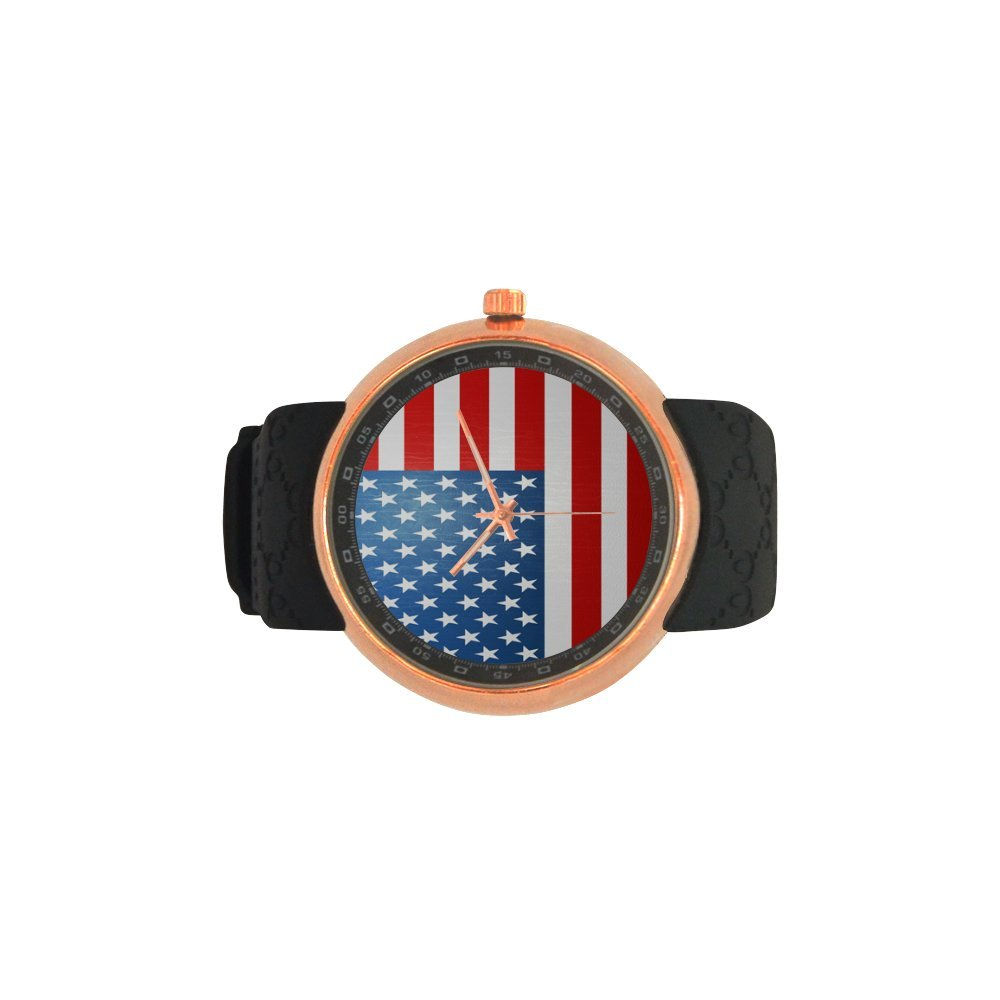 Novelty Gift US American Flag Men's Rose Gold Plated Resin Strap Watch by American Flag Watch (Image #4)