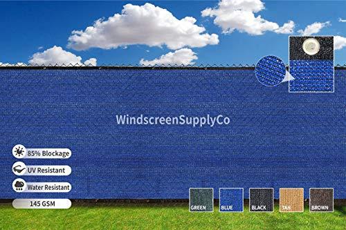 Heavy Duty 6 ft. X 50 ft. Privacy Windscreen Fence Screen Mesh Tarps W/Binding Grommets (5, Blue)
