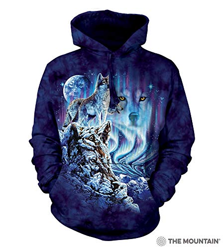 The Mountain Find 10 Wolves-Hsw-L Adult Hoodie, Blue and Purple, Large