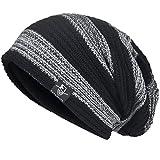 JESSE · RENA Men Beanie Hat Knit Slouchy Baggy Skull Cap CFB306 (Grey&Black)
