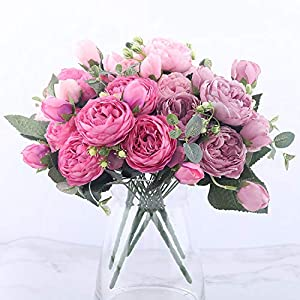 GSD2FF 30cm Rose Pink Silk Peony Artificial Flowers Bouquet 5 Big Head and 4 Bud Home Wedding Decoration Indoor 23