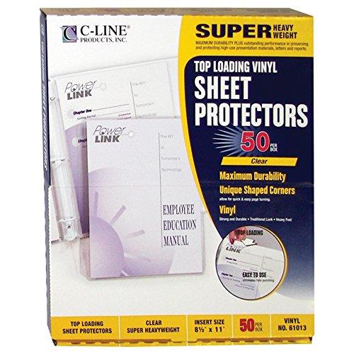 (C-Line Top Loading Super Heavyweight Vinyl Sheet Protectors, Non-Glare, 8.5 x 11 Inches, 50 per Box (61013))