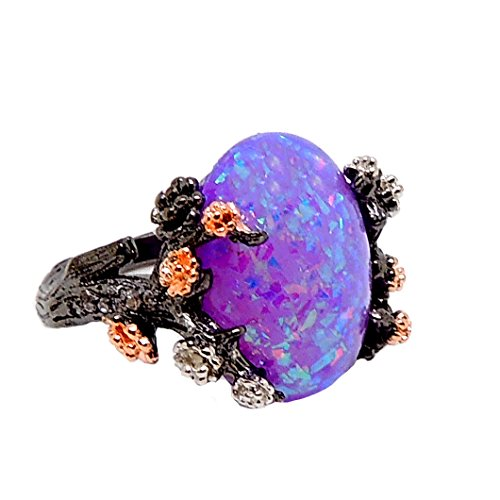 Ginger Lyne Collection Henrietta Elven Tree Branch Setting Oval Shape Simulated Fire Opal Ring (9)