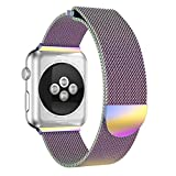 CapsA Milanese Stainless Steel Magnetic Closure Watch Band Replacement Strap Compatible Apple Watch Series 3 42MM