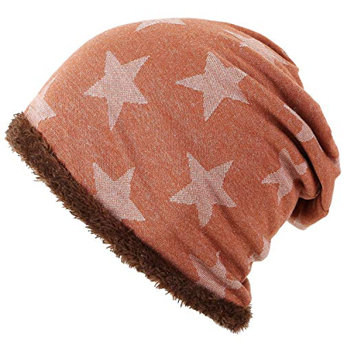 ieasysexy Unisex Winter Beanie Hat Slouch Five-Star Headgear Hat with Soft Plush Liner for Outdoor Activities (Orange)