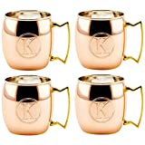 Old Dutch International Solid Moscow Mule Mug, 16-Ounce, Monogrammed K, Copper, Set of 4