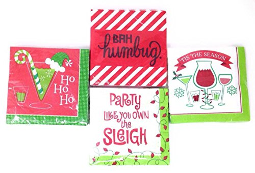 Funny Christmas Beverage Napkins 4-Pack Bundle (Designs Will Vary)