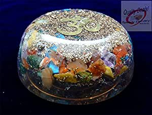 Charged Chakra  Orgone Dome Disk with OM symbol two and a half  inches Gemstones Copper Metal Mix Reiki Chakra