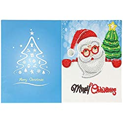 Weite Handmade Christmas Cards with Envelope - Creative 5D DIY Diamond Painting Santa Claus Postcard Cartoon Paper Greeting Card Craft for New Year Holiday Gift (H)