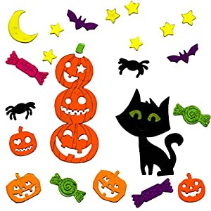 halloween window clings black cat and pumpkins gel charms - Window Clings Halloween