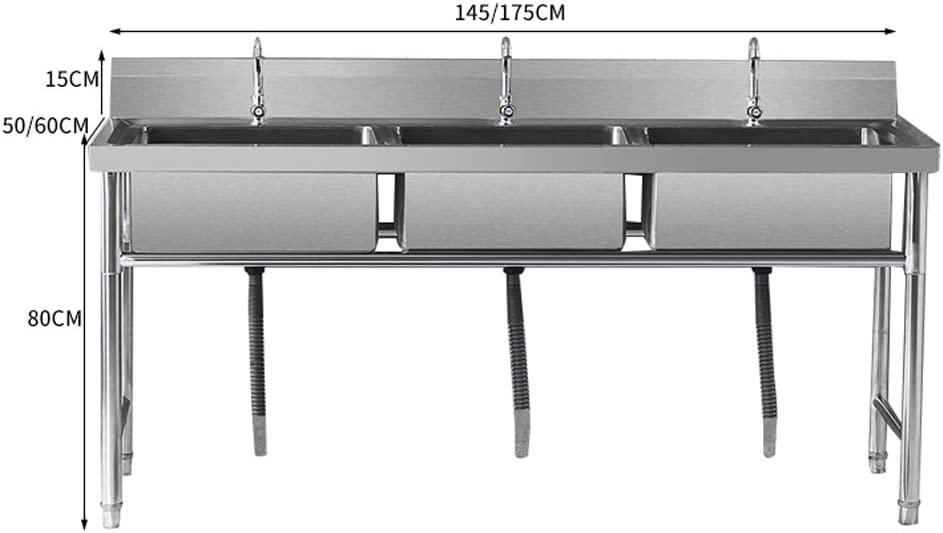 Commercial Stainless Steel Catering Thickened Sink with Faucet Easy to Clean /& Strengthen Load-bearing for Hotel//Restaurant//Kitchen