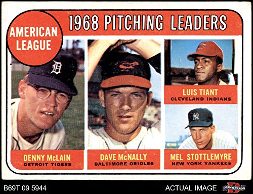 1969 Topps # 9 AL Pitching Leaders Denny McLain / Luis Tiant / Dave McNally / Mel Stottlemyre Detroit / Cleveland / Baltimore / New York Tigers / Indians / Orioles / Yankees (Baseball Card) Dean's Cards 4 - VG/EX Tigers / Indians / Orioles / Yankees