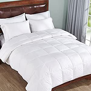 Lightweight Warm Down Comforter Cotton 550 Fill Power, White, Full/Queen Size by Home Elements