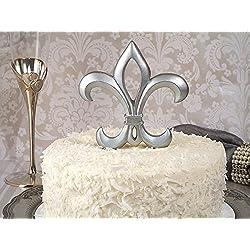 1 X Silver Fleur De Lis Cake Topper Wedding Set