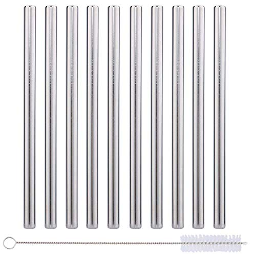 10k Metal - 10 Pack Boba Straws In Stainless Steel - Reusable Metal Straws Best For Drinking Bubble/Boba Tea, Smoothies, Shakes - Extra Wide 0.5'' And 8.5